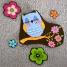 5 Pc Sleeping Owl with Flowers No Sew Iron On Appliques Cotton Patches