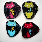 4 Funky Kitty Cats No Sew Iron On Appliques Cotton Flannel Patches