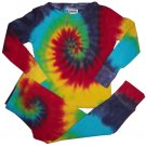 Tie Dye Toddler 2PC Thermals Long Sleeve Shirt Pants Sz 4 Hippie Outfit Cotton Hand Dyed Tiedye