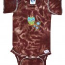 New Tie Dye Green Owl Applique Chocolate Onesie Newborn Cotton Retro