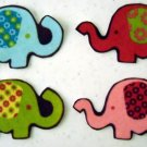 4 Elephants No Sew Iron On Appliques Cotton Flannel Patches Retro