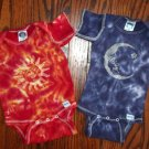Tie Dye Baby Hippie Faux Batik Celestial Sun Moon Star 2PC Short Sleeve Onesie Set