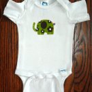 Green Elephant Applique Onesie All Sizes Cotton Retro