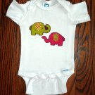 Green Red Elephants Applique Onesie All Sizes Cotton Flannel Retro