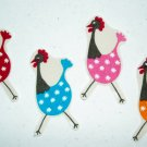 4 Hen Chickens No Sew Iron On Appliques Cotton Patches Retro