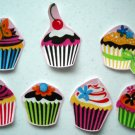 7 Cupcakes Frosted No Sew Iron On Appliques Cotton Patches Retro