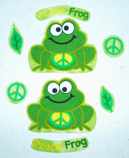 2 Pc Retro Peace Frogs w/ 6 Extras No Sew Iron On Appliques Cotton Flannel Patches