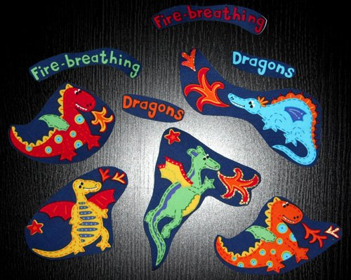5 Fire Breathing Dragons With 4 Extras No Sew Iron On Appliques Cotton Patches