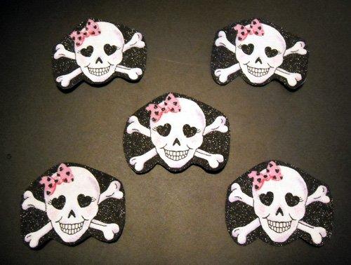 5 Pc Retro Skulls No Sew Iron On Appliques Cotton Patches