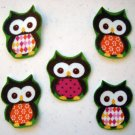 5 Pc Retro Owls No Sew Iron On Appliques Cotton Flannel Patches