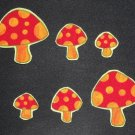 6 Pc Retro Mushrooms No Sew Iron On Appliques Cotton Toadstool Patches