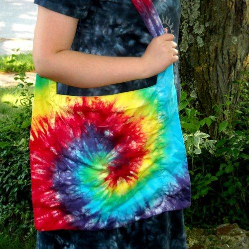 Custom Tie Dye Hippie Shoulder Messenger Hobo Bag 2 Pockets