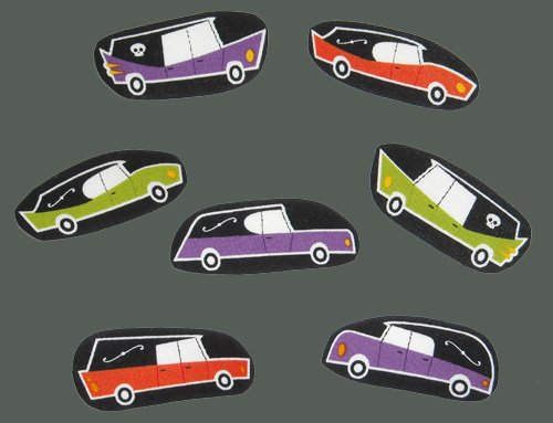 6 Hearses Funeral Halloween No Sew Iron On Appliques Cotton Patches Gothic Retro