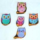 5 Pc Retro Sleepy Owls No Sew Iron On Appliques Cotton Patches