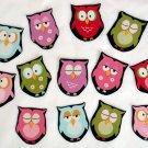 5 Pc Retro Owls No Sew Iron On Appliques Cotton Patches