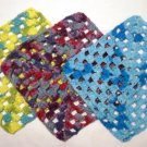 Pick ANY Color Set of 3 Granny Square Cotton Dish Cloths 9 X 9 inches