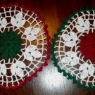 Set of 2 Red Green Elegance 8 Inch Round Cotton Crochet Doily Christmas