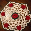 Crochet 7 Rose Bouquet Doily 15 Inch Round Red Yellow Blue Peach