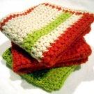 Set of 3 Crocheted Square Cotton Dish Cloths Bath Scrubbies