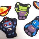 5 Piece Alien Space Ship Robot No Sew Iron On Appliques Cotton Patches Retro