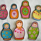 7 Pc Retro Russian Nesting Dolls No Sew Iron On Appliques Cotton Patches