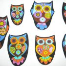 5 Pc Retro Owls Peace Sign No Sew Iron On Appliques Cotton Patches