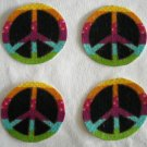 4 Rainbow Peace Signs No Sew Iron On Appliques Cotton Flannel Patches