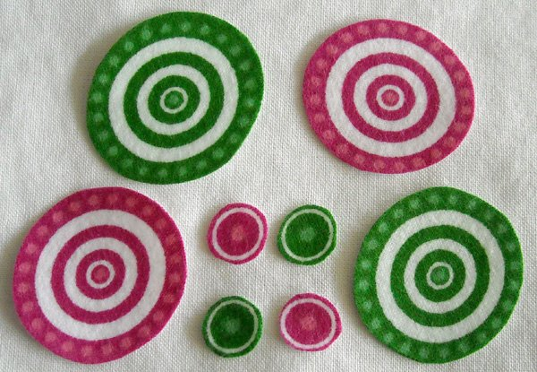8 Pink Green Circles Eyes Wheels or Spirals No Sew Iron On Appliques Cotton Flannel Patches