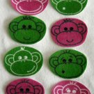 8 Pink and Green Monkey Faces No Sew Iron On Appliques Cotton Flannel Patches