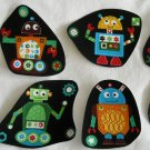 8 Colorful Robots With Gears Nuts Bolts No Sew Iron On Appliques Cotton Patches