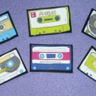 12 Retro Cassette Tapes No Sew Iron On Appliques Cotton Patches