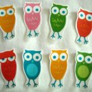 8 Pc Retro Colorful Owls No Sew Iron On Appliques Cotton Patches