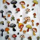 25 Pc Retro Mushrooms No Sew Iron On Appliques Cotton Toadstool Patches
