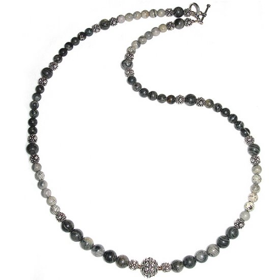 Silverlace Agate & Sterling Silver Necklace