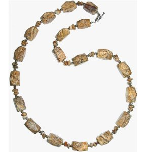 Picture Jasper Faceted Nugget & Chip Necklace