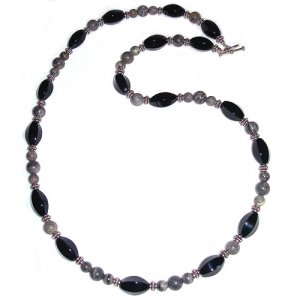 Black Agate, Silverlace Agate & Sterling Silver Necklace