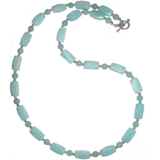 Faceted Amazonite  Rectangles & Sterling Silver Necklace: