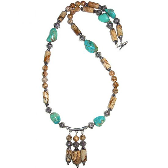 Picture Jasper & Turquoise Nugget Pendant Necklace: