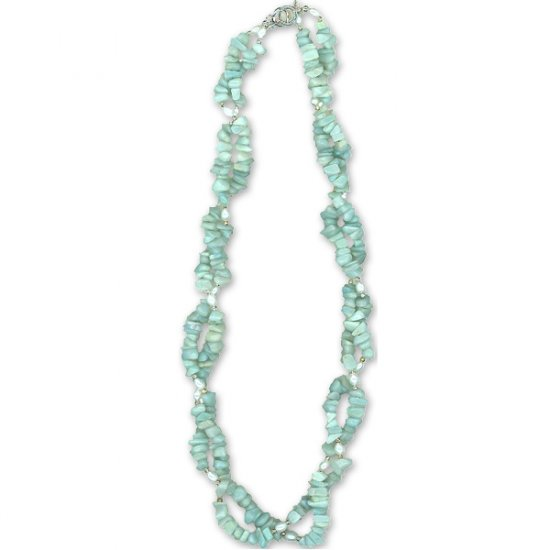 Amazonite, Pearl & Sterling Silver Necklace: