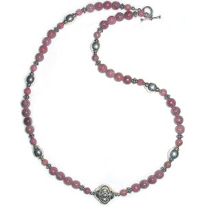 Rhodonite & Sterling Silver Necklace