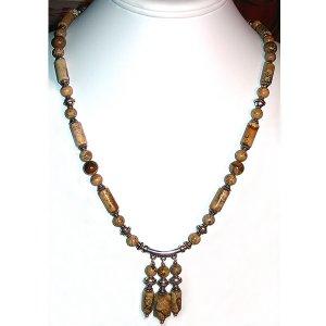 Picture Jasper & Sterling Silver Pendant  Necklace