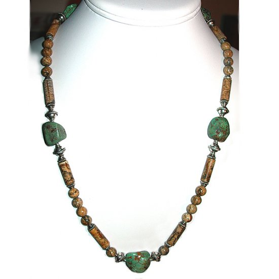 Picture Jasper, Turquoise & Sterling Silver Necklace