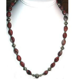 Red Picture Jasper & Sterling Silver Necklace