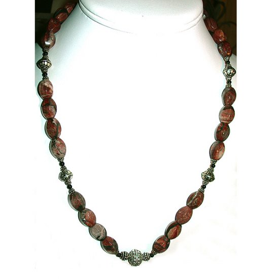 Red Picture Jasper, Black Onyx, & Sterling Silver Necklace