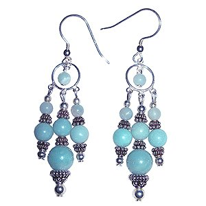 Amazonite and Sterling Silver Chandelier Earrings: