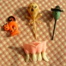 vintage Halloween plastic cake toppers skull, witch