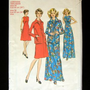 Simplicity 6559 Vintage Sewing Pattern Mod 70s Maxi Dress and Jacket