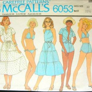 Vintage Sewing Pattern McCall's 6053 Bikini, Halter Peasant Skirt Shorts