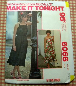 Sundress McCall's 6066 70s Vintage Sewing Pattern