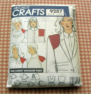 Shoulder Pads McCall's 9287 Vintage 80s Sewing Pattern